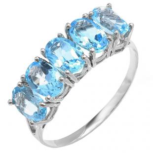 2.50 Carat (ctw) 10K White Gold Light Weight Oval Blue Topaz Gemstone Ladies 5 Stone Cocktail Ring