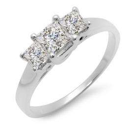 1.00 Carat (ctw) 14k White Gold Princess Cut Diamond Ladies Bridal Engagement Three Stone Ring