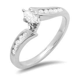 0.50 Carat (ctw) 14k White Gold Marquise & Round Cut Diamond Ladies Bridal Engagement Three Stone Ring
