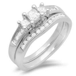 0.75 Carat (ctw) 14k White Gold Princess and Round Diamond Ladies Bridal 3 Stone Engagement Ring Matching Wedding Set