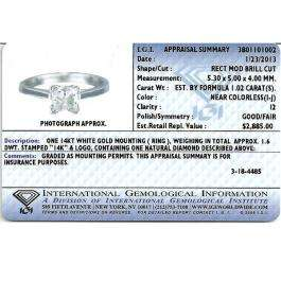 IGI Certified 1.02 Carat (ctw) 14K White Gold Real Princess Diamond Ladies Bridal Engagement Solitaire Ring 1 CT