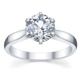 IGI Certified 0.96 Carat (ctw) 14K White Gold Brilliant Round Diamond Ladies Bridal Engagement Solitaire Ring 1 CT
