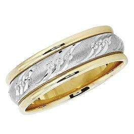 14k Yellow Gold Men's Ladies Unisex Ring Fancy Wedding Band 7MM Laser Engraved And Shiny Polished Traditional Fit (Available in Sizes 4 to 12)