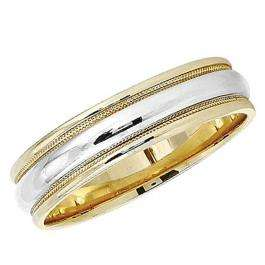 14k Yellow Gold Men's Ladies Unisex Ring Fancy Wedding Band 5.5MM Millgrain Edged Plain Shiny Polished Traditional Fit (Available in Sizes 4 to 12)