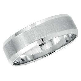 14k White Gold Men's Ladies Unisex Ring Fancy Wedding Band 6MM  Dome Brushed Finish in Center and Polished Shiny Comfort Fit (Available in Sizes 4 to 12)