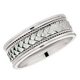 14k White Gold Men's Ladies Unisex Ring Fancy Wedding Band 8.5MM Laser Engraved And Shiny Polished Traditional Fit (Available in Sizes 4 to 12)