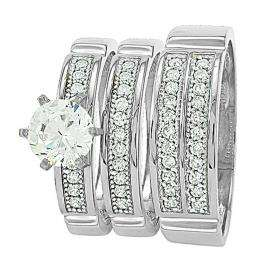 3/3rd of payment for Gold Trio Sets with 6 prong round White Diamond Men & Women's Ring