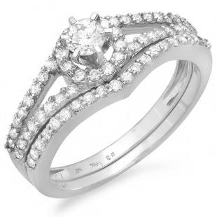 0.70 Carat (ctw) 14k White Gold Round Diamond Halo Style Ladies Bridal Engagement Ring Matching Wedding Band Set
