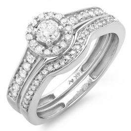 0.50 Carat (ctw) 14k White Gold Round Diamond Halo Style Ladies Bridal Engagement Ring Matching Wedding Band Set