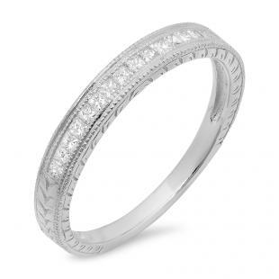 0.23 Carat (ctw) 14K White Gold Princess Cut Diamond Ladies Milgrain Stackable Anniversary Wedding Band 1/4 CT