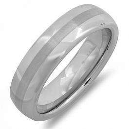 Cobalt Men's Ring Wedding Band 8MM Bushed Finish in Center and Polished Shiny Dome Ring (Available in Sizes 7 to 12)