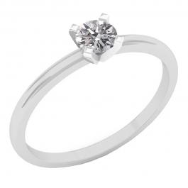 0.25 Carat (ctw) 14K White Gold Round Lab Grown White Diamond Ladies Solitaire Engagement Ring