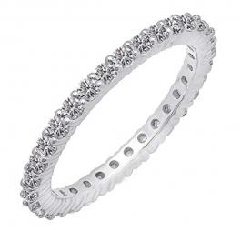 1.00 Carat (ctw) 10K White Gold Round Diamond Ladies Eternity Stackable Ring Wedding Band 1 CT