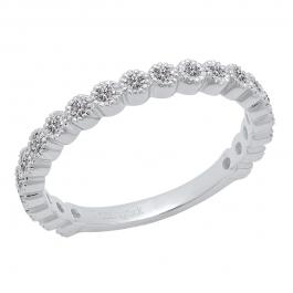0.50 Carat (ctw) 10K White Gold Round Lab Grown White Diamond Stackable Wedding Eternity Band Ring