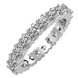 2.50 Carat (ctw) 14K White Gold Round Lab Grown Diamond Ladies Eternity Stackable Ring Wedding Band