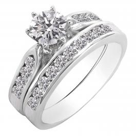1.00 Carat (ctw) 10K White Gold Round Diamond Ladies Engagement Band Ring Set 1 CT