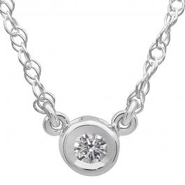 0.25 Carat (ctw) 10K White Gold Round Lab Grown Diamond Ladies Bezel Set Solitaire Pendant 1/4 CT
