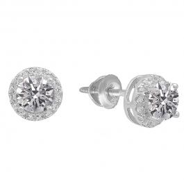 1.65 Carat (ctw) Sterling Silver Round Lab Grown White Diamond Ladies Halo Fashion Stud Earrings