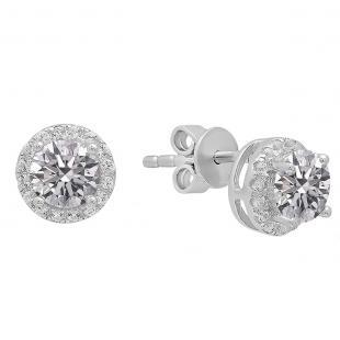1.65 Carat (ctw) Sterling Silver Round Lab Grown White Diamond Ladies Halo Fashion Stud Earrings