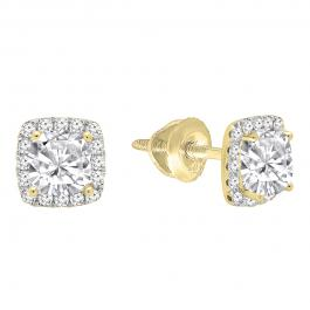 0.85 Carat (ctw) 10K Yellow Gold Cushion & Round Lab Grown Diamond Ladies Halo Stud Earrings