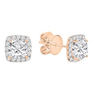 0.85 Carat (ctw) 18K Rose Gold Cushion & Round Lab Grown Diamond Ladies Halo Stud Earrings