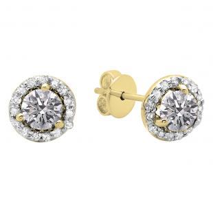 0.50 Carat (ctw) 10K Yellow Gold Round Lab Grown White Diamond Ladies Halo Stud Earrings 1/2 CT