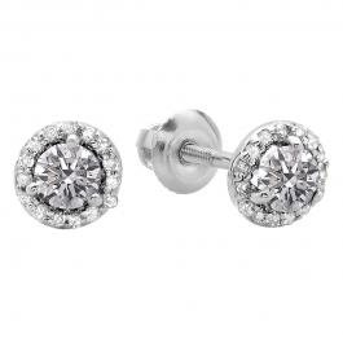 0.50 Carat (ctw) 14K White Gold Round Lab Grown White Diamond Ladies Halo Stud Earrings 1/2 CT
