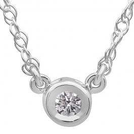 0.50 Carat (ctw) 18K White Gold Round Lab Created Diamond Ladies Bezel Set Solitaire Pendant 1/2 CT
