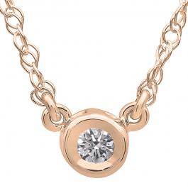 0.50 Carat (ctw) 10K Rose Gold Round Diamond Ladies Bezel Set Solitaire Pendant 1/2 CT