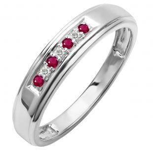 Sterling Silver Round Lab Grown Ruby & White Diamond Men's Seven Stone Wedding Band