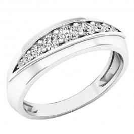 0.50 Carat (ctw) 10K White Gold Round Lab Grown White Diamond Men's Wedding Stackable Band 1/2 CT