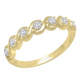 0.20 Carat (ctw) 10K Yellow Gold Round Lab Grown Diamond Ladies Swirl Wedding Band 1/5 CT