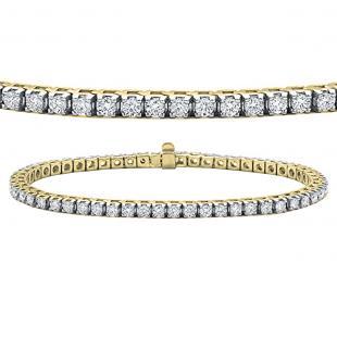 3.00 Carat (ctw) 10K Yellow Gold Round Lab Grown Diamond Ladies Tennis Bracelet 3 CT