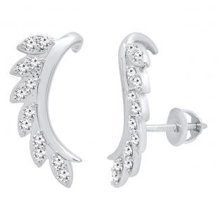 0.35 Carat (cttw) Round White Diamond Ladies Leaf Shaped Climber Earrings 1/3 CT, 18K White Gold