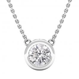 1.00 Carat (cttw) Round Lab Grown Diamond Ladies Solitaire Pendant 1 CT, 10K White Gold