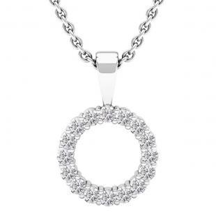 0.35 Carat (cttw) Round lab Grown White Diamond Ladies Circle Pendant 1/3 CT, Sterling Silver