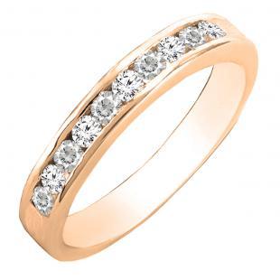 0.35 Carat (cttw) Round Lab Grown White Diamond Ladies Wedding Band 1/3 CT, 14K Rose Gold