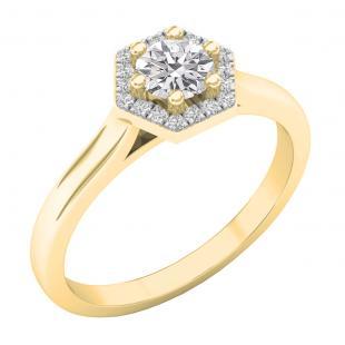 0.50 Carat (cttw) Round Lab Grown White Diamond Octagonal Shape Ladies Bridal Engagement Ring 1/2 CT, 10K Yellow Gold