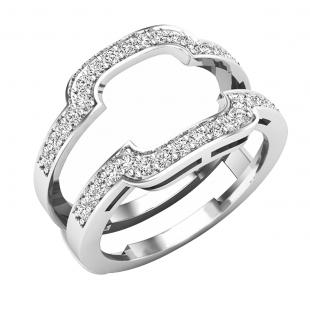 0.45 Carat (ctw) Round Lab Grown Diamond Ladies Guard Double Wedding Band 1/2 CT, 18K White Gold