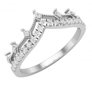 0.20 Carat (ctw) Round Lab Grown Diamond Ladies Chevron Wedding Band 1/5 CT, 10K White Gold