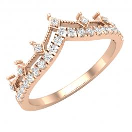 0.20 Carat (ctw) Round Lab Grown Diamond Ladies Chevron Wedding Band 1/5 CT, 18K Rose Gold