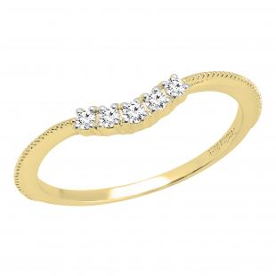 0.10 Carat (ctw) Round Lab Grown Diamond Ladies Wedding Contour Ring 1/10 CT, 14K Yellow Gold