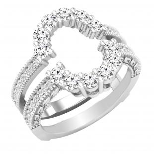 0.85 Carat (ctw) Round Lab Grown Diamond Ladies Enhancer Guard Double Wedding Ring, Sterling Silver