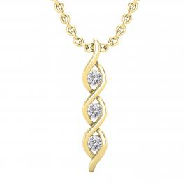 0.10 Carat (ctw) Round Lab Grown Diamond Ladies 3 Stone Infinity Pendant 1/10 CT, 18K Yellow Gold