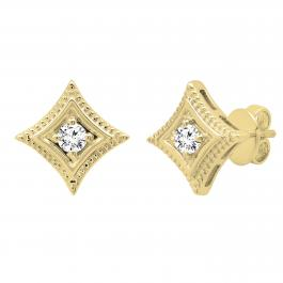 0.25 Carat (ctw) Round Lab Grown Diamond Ladies Solitaire Kite Stud Earrings 1/4 CT, 14K Yellow Gold