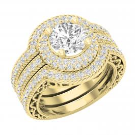 2.70 Carat (ctw) Round Lab Grown White Diamond Halo Bridal Trio Wedding Ring Set, 14K Yellow Gold