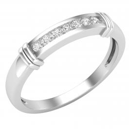 0.10 Carat (ctw) Round Lab Grown Diamond Mens Fashion Wedding Band 1/10 CT, Sterling Silver