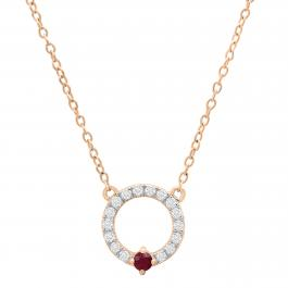 Round Lab Created Ruby with Lab Grown Diamond Accented Ladies Circle Pendant, 10K Rose Gold