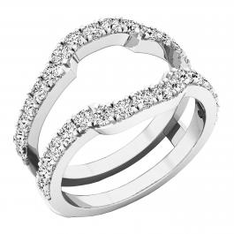 1.00 Carat (ctw) Round Lab Grown White Diamond Ladies Wedding Band Double Ring 1 CT, 10K White Gold