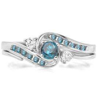 0.50 Carat (ctw) 14k White Gold Round Blue And White Diamond Ladies Swirl Bridal Engagement Ring Matching Band Set